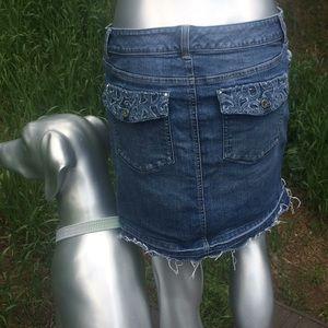 White House Black Market Distressed Denim Skirt
